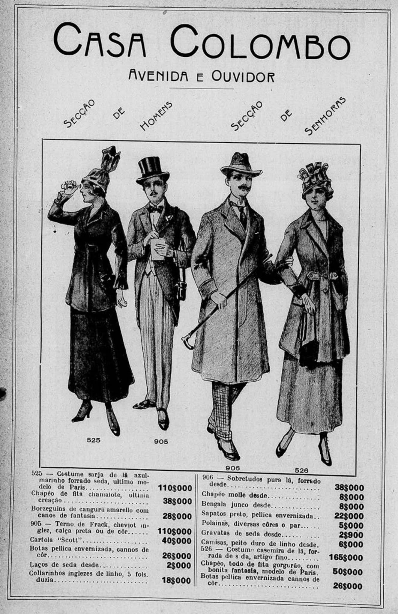 Anúncio de 1916 da Casa Colombo com moda para homens e senhoras