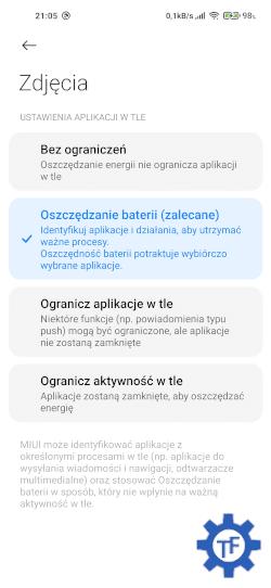 Oszczędzanie baterii przez aplikacje