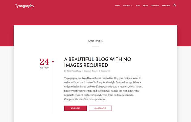 Typhography adalah Template Blogger Minimal berbasis teks