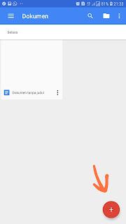 Tampilan google document pada android yang sudah kalian instal