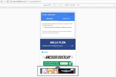 Memasang Iklan Anchor atau Overlay Page Level Ads Pada Blog - www.helloflen.com