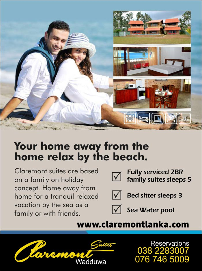 Claremont Suites situated in Wadduwa just 30 Kilometers from central Colombo heading South by the coast is abundant with Marine Life which is the main live hood of people in the surroundings. Enjoy the scenes of fishing and toddy taping relaxing in your suite or on the sit out sun bathing by the salt water pool.