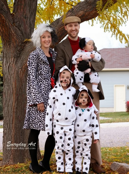 Hands down this is my most favorite Halloween costume ever! ) How fun is that? It was so fun to have a whole family costume and we all had a lot of ...  sc 1 st  Everyday Art & Everyday Art: DIY Family Halloween Costume: 101 Dalmations Cruella ...