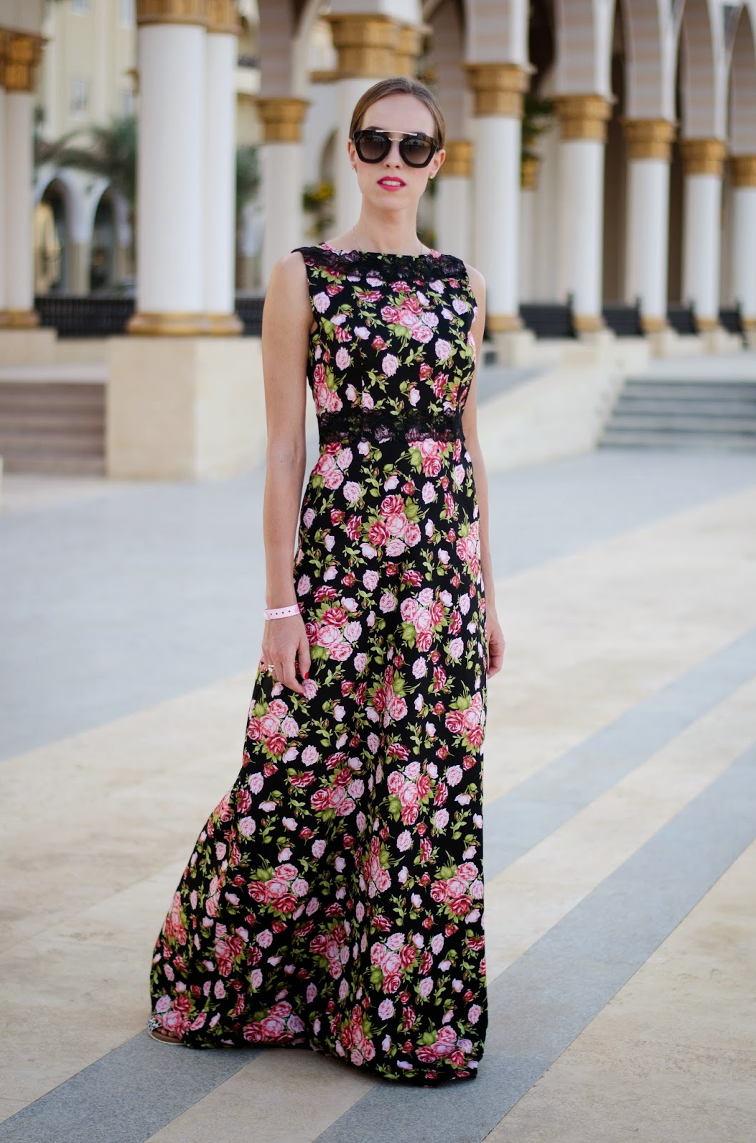kristjaana mere black floral maxi dress