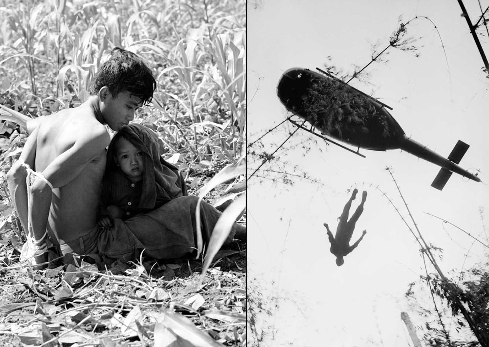 "Left: A Vietnamese child clings to his bound father who was rounded up as a suspected Viet Cong guerrilla during ""Operation Eagle Claw"" in the Bong Son area, 280 miles northeast of Saigon on February 17, 1966. The father was taken to an interrogation camp with other suspects rounded up by the U.S. 1st air cavalry division. Right: The body of an American paratrooper killed in action in the jungle near the Cambodian border is raised up to an evacuation helicopter in War Zone C, Vietnam, in 1966."