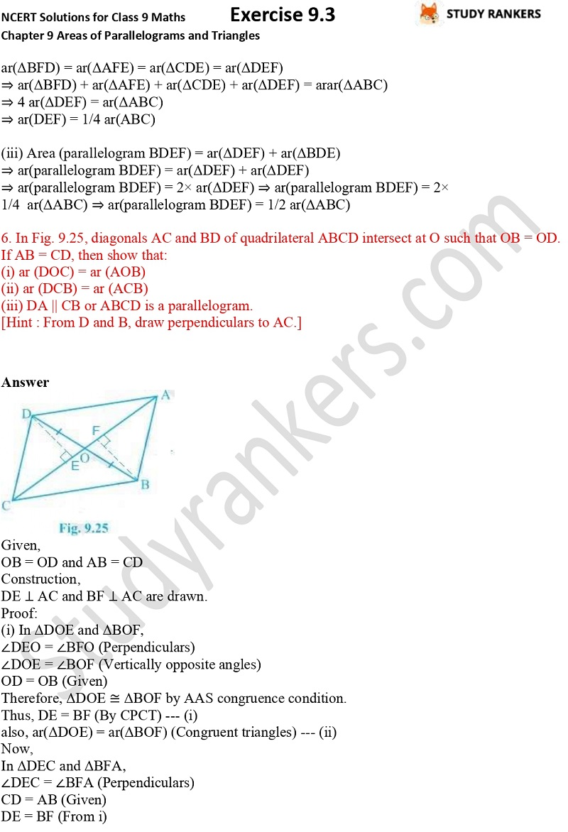 NCERT Solutions for Class 9 Maths Chapter 9 Areas of Parallelograms and Triangles Exercise 9.3 Part 4