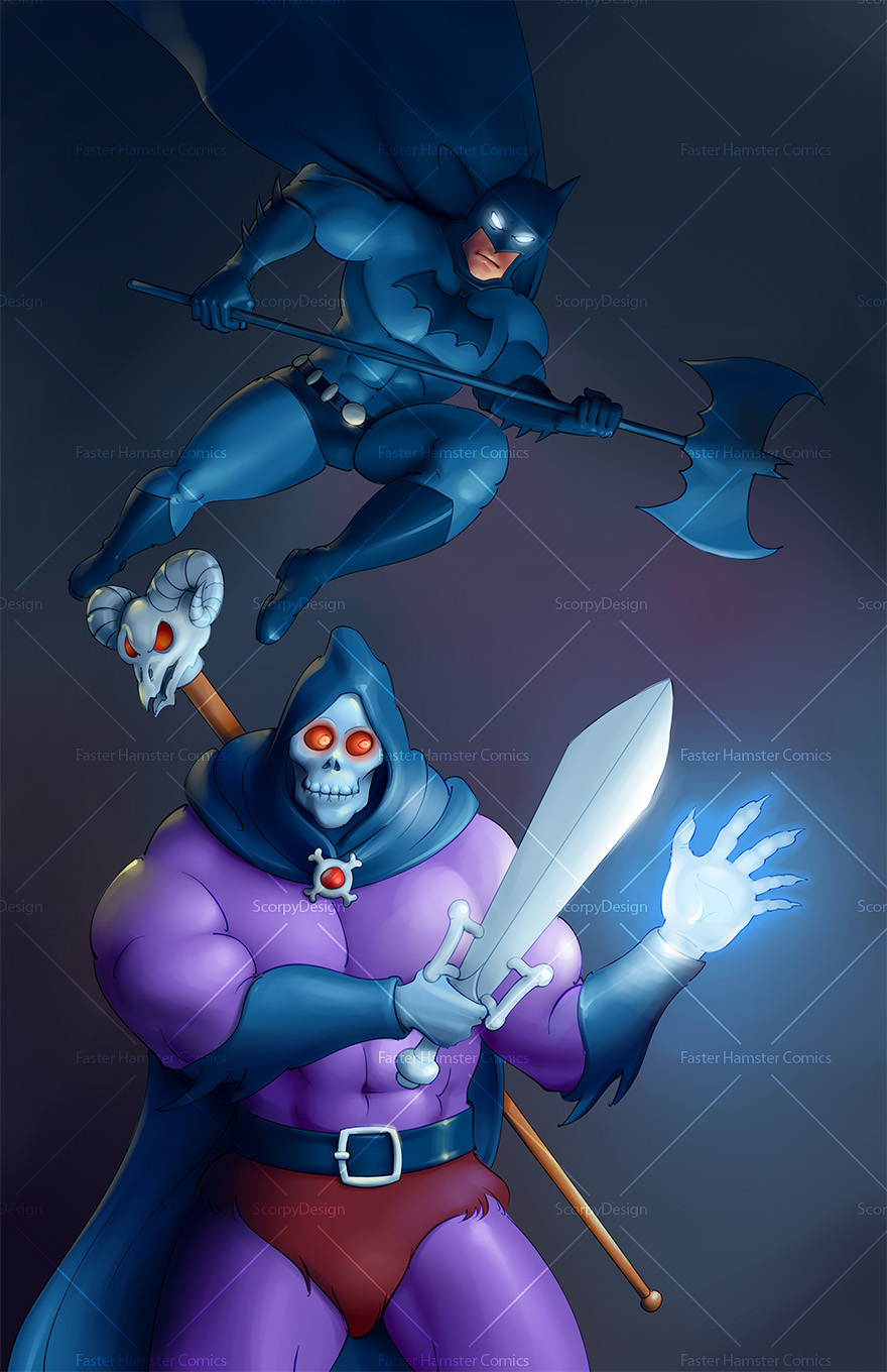 batman vs skeletor fan art painting