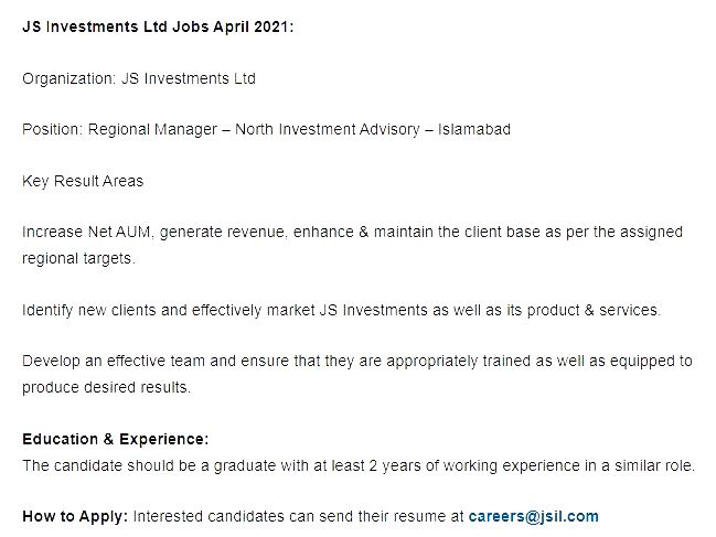 Latest New Jobs in JS Investment Limited April 2021 in Pakistan