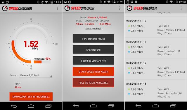 Tampilan Aplikasi Internet Speed Test 2G, 3G, LTE, Wifi Premium