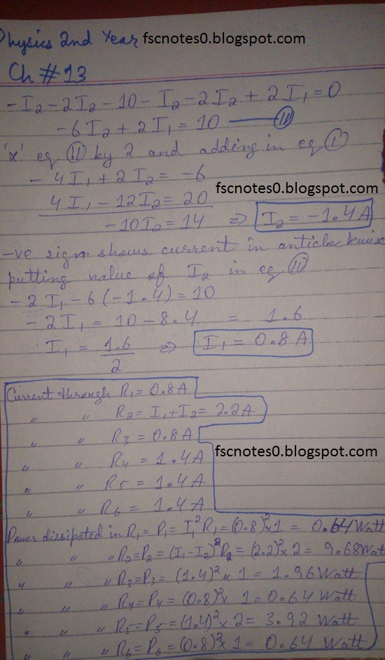 F.Sc ICS Notes: Physics XII: Chapter 13 Current Electricity Numerical Problems Asad Hussain 5
