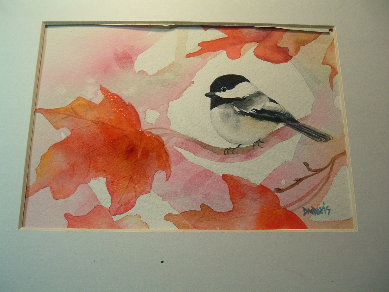 Chickadee Watercolor And Christmas Tree