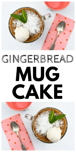 Gingerbread Mug Cake - a quick microwave cake made in minutes in a microwave safe mug