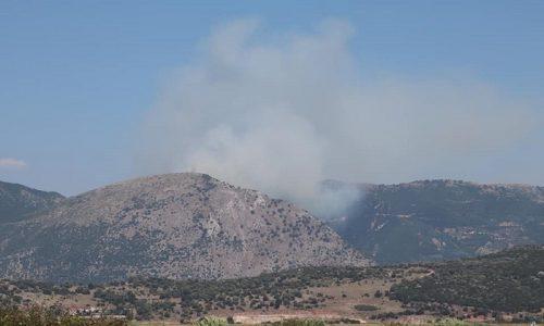 Επίγειες κι εναέριες δυνάμεις της Πυροσβεστικής Υπηρεσίας επιχειρούν για την κατάσβεση μεγάλης φωτιάς που έχει ξεσπάσει σε ορεινή περιοχή στο Σκιεπαστό Φαναρίου.