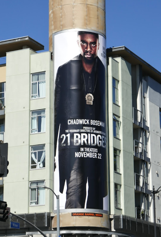 Chadwick Boseman 21 Bridges billboard