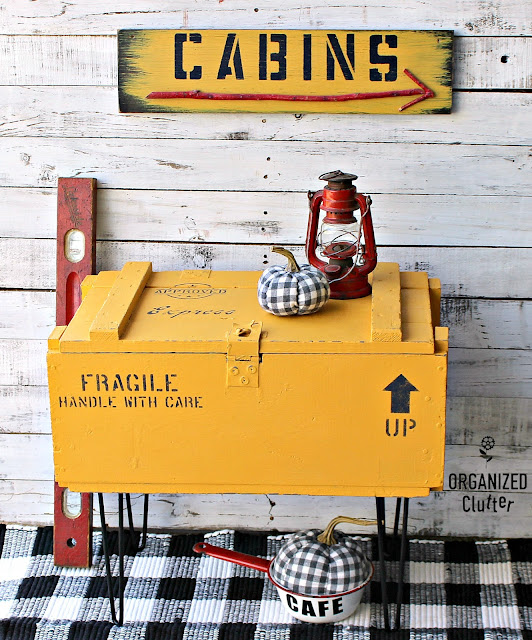 Old Crate Table In Colonel Mustard & Old Sign Stencils