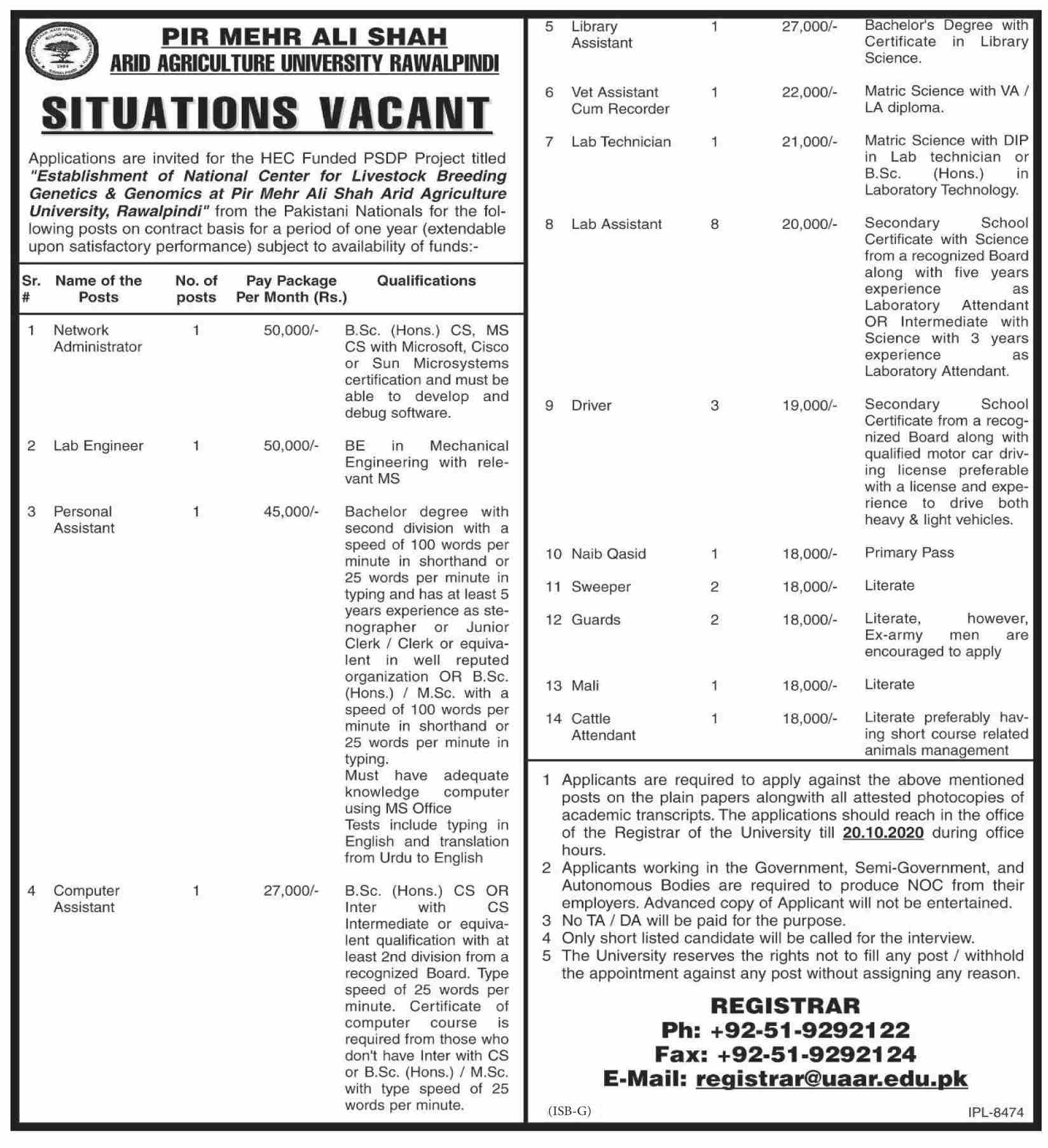 Pir Mehr Ali Shah Arid Agriculture University Job Advertisement For Male and Female in Pakistan.