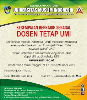 Informasi lowongan kerja dosen terbaru bulan September tahun  Penerimaan Calon Dosen Tetap Yayasan Wakaf UMI