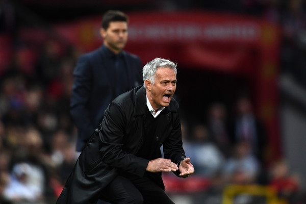 Jose Mourinho, Manager of Manchester United reacts during the Premier League match between Manchester United and Tottenham Hotspur at Old Trafford on August 27, 2018 in Manchester, United Kingdom.