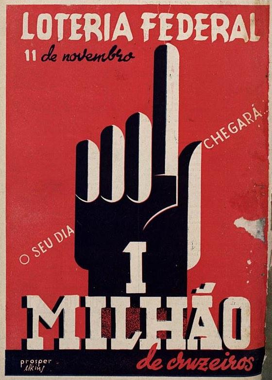 Propaganda antiga da loteria federal promovendo grande premiação em 1944