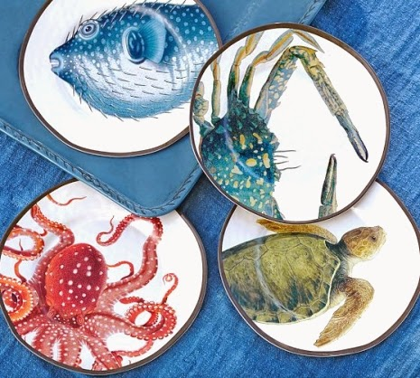 Coastal & Nautical Melamine Plates & Dinnerware for