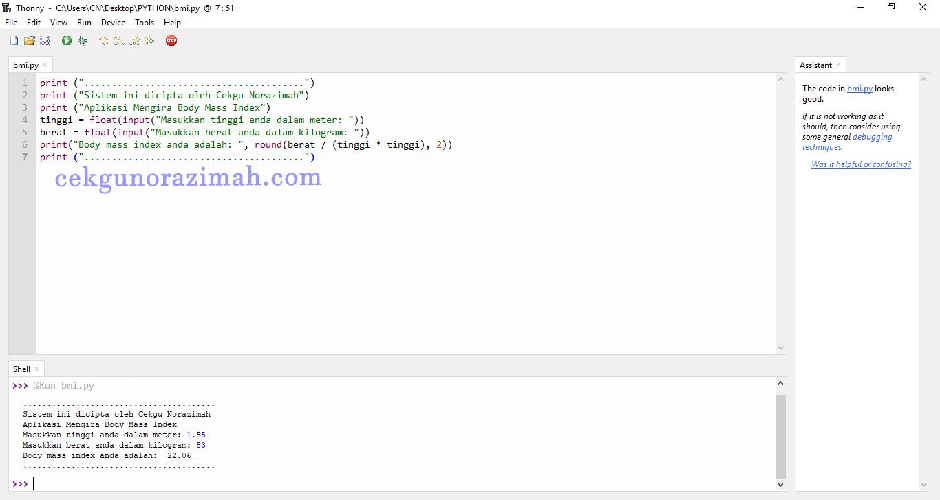 Coding Python Kira BMI ~ CikguNorazimah