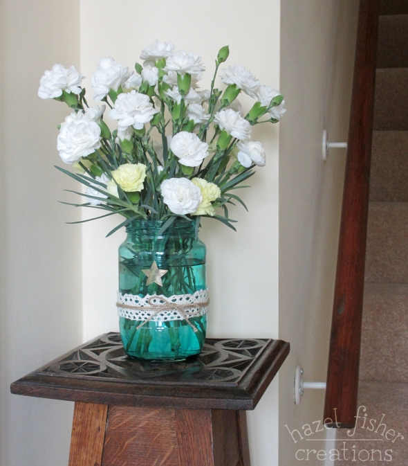 DIY Upcycled Jar Flower Vase in hallway hazelfishercreations