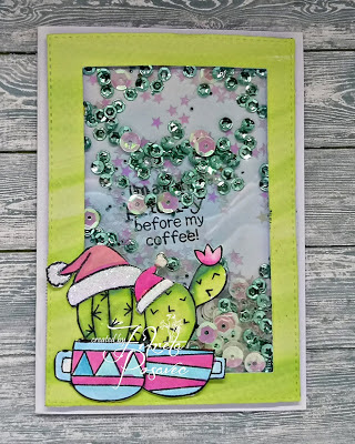 Cactus Holiday Shaker Card by Fikreta | Cuppa Cactus Stamp Set by Newton's Nook Designs #newtonsnook #handmade