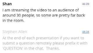 Screenshot from the Blackboard Collaborate chat room showing that 30 people were watching in one location
