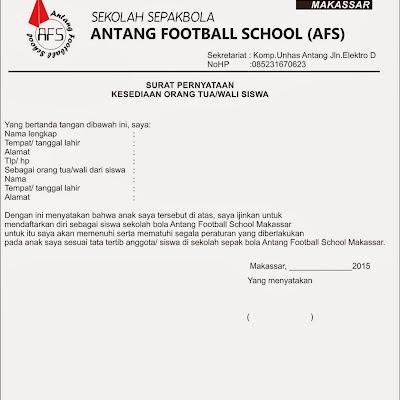 Surat Pernyataan Orang Tua Wali Ssb Antang Football School Afs
