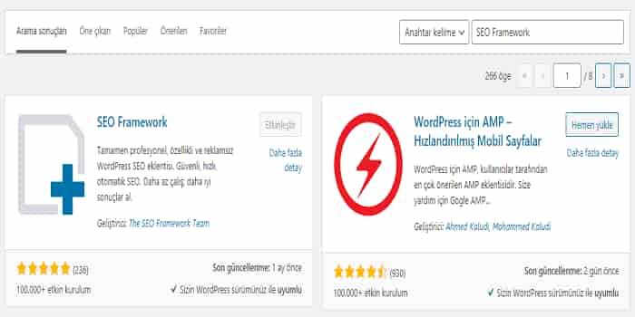 wordpress seo framework eklentisi kurulumu