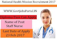 National Health Mission Recruitment 2017 –Staff Nurse