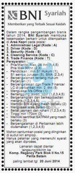 PT Bank BNI Syariah - Recruitment SMA, S1 Staff BNI Syariah June 2014 - Lowongan Kerja Terbaru Juni 2019 | BUMN CPNS 2019