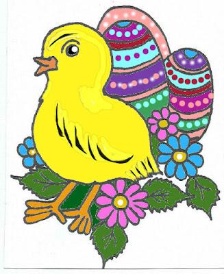 Ozdoba do kartek, kurczak ręcznie malowany