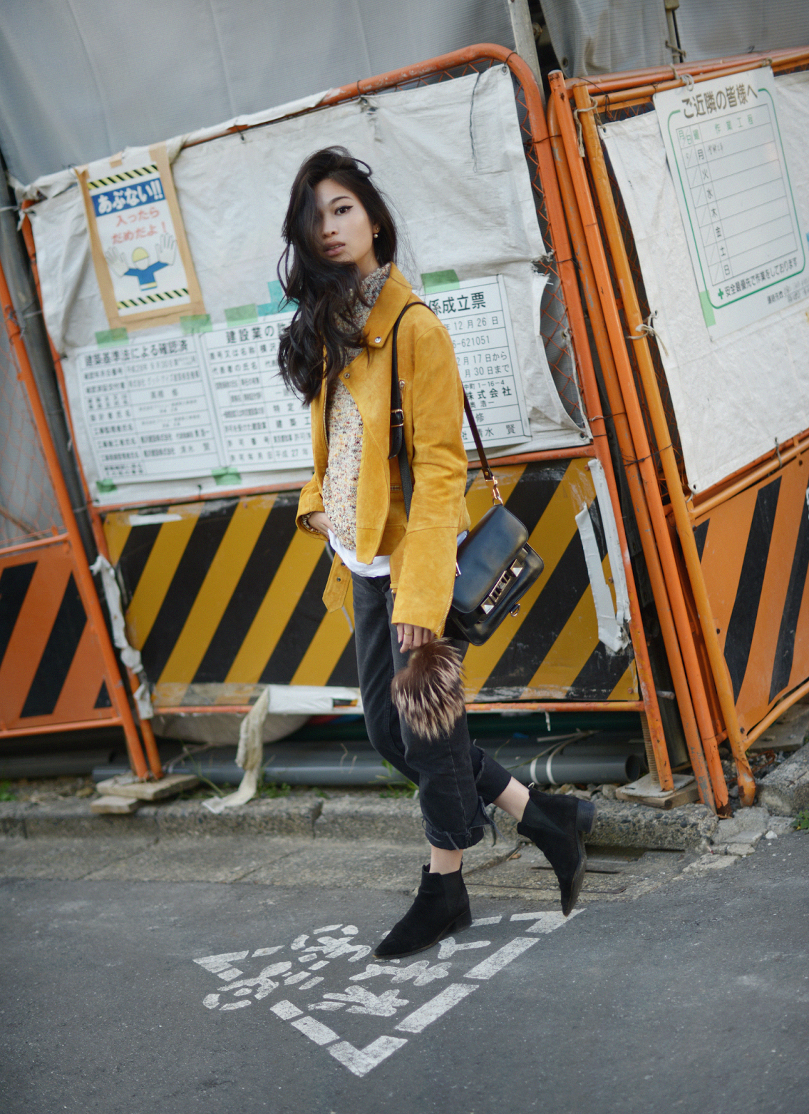Yellow H&M Suede Biker Jacket and Speckle Knit Sweater / FOREVERVANNY.com