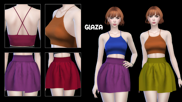 TS4 NEW MESH TOP 09 SKIRT 01 SKIRT 02 BY GLAZA