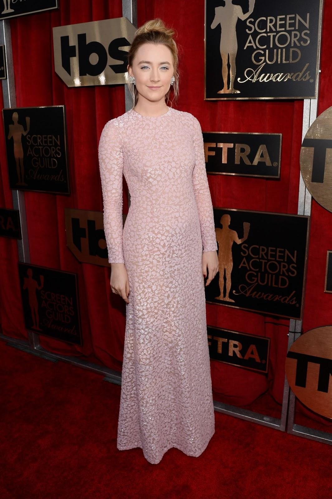 SAG Awards 2016 - Saoirse Ronan in Pink at Screen actors Guild Awards in Los Angeles