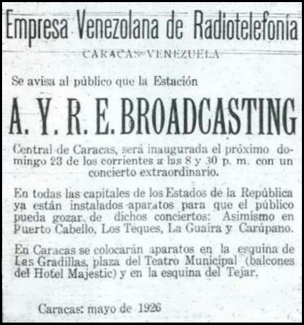 AYRE Primera Emisora de Radio en Venezuela