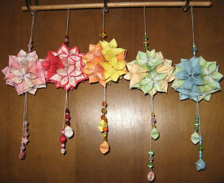 kusudama origami de flores de cerejeira