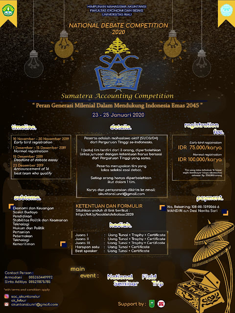 NATIONAL DEBATE COMPETITION 2020 FEB Universitas Riau