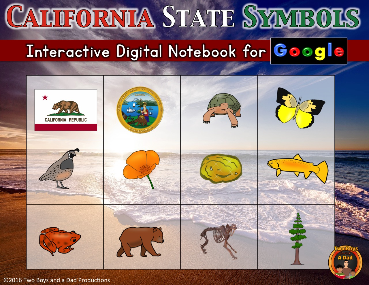 California State Symbols Interactive Digital Notebook