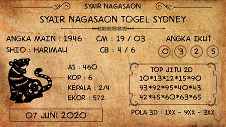 Prediksi Togel Sydney Minggu 07 Juni 2020 - Nagasaon