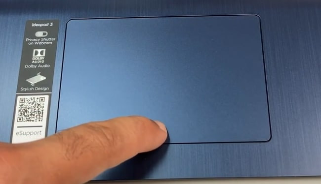 4.1-inch Non-precision plastic touchpad of Lenovo IdeaPad Slim 3 laptop.