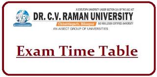 Dr CV Raman University Exam Date Sheet 2020