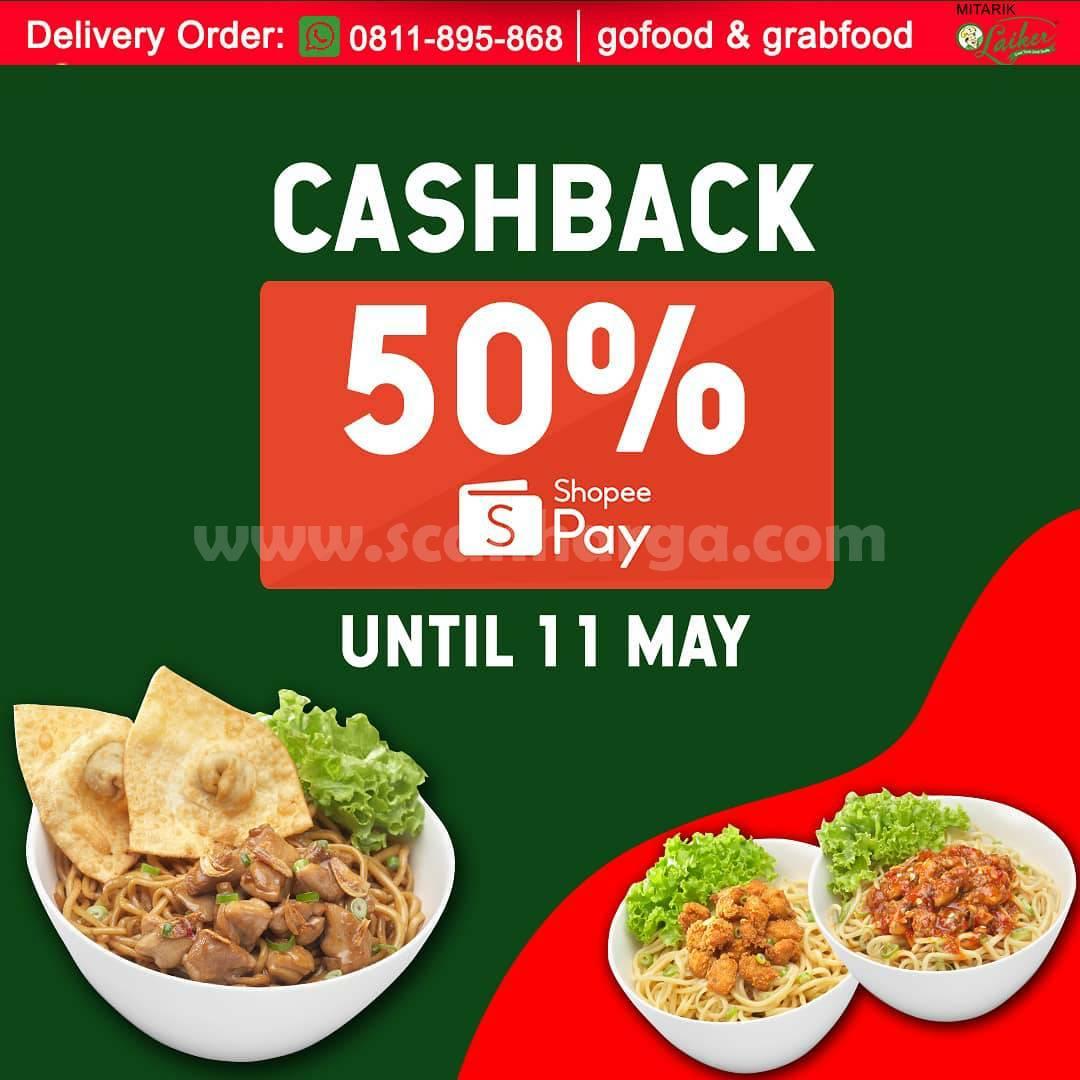 Promo Mitarik Laiker Cashback 50% pakai ShopeePay