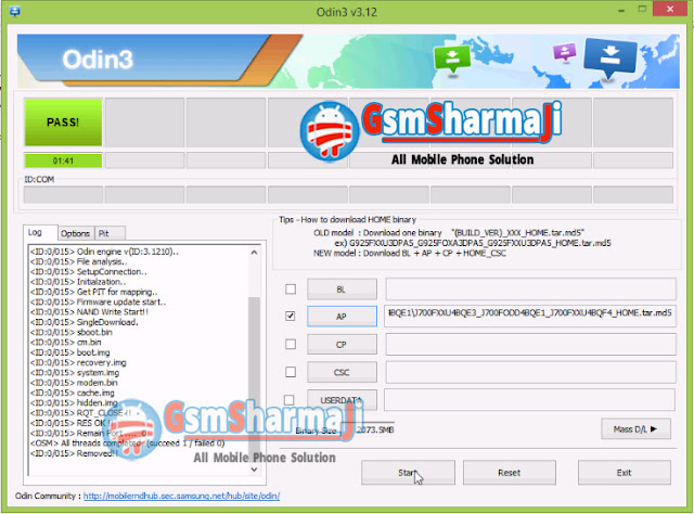 Samsung SM-J700F Flashing Error Solution