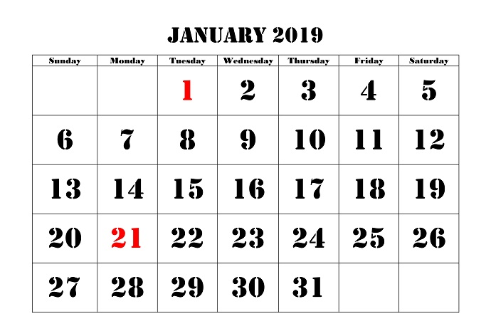 January 2019 calendar Printable Version
