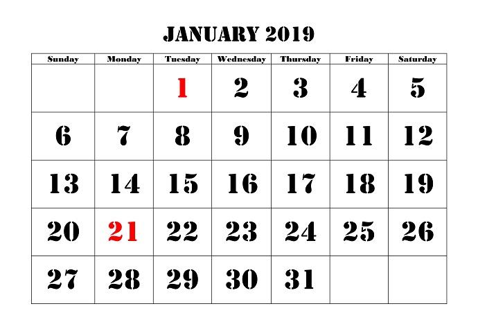 January 2019 calendar Printable Version