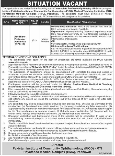 Jobs in Pakistan Institute of Community Ophthalmology
