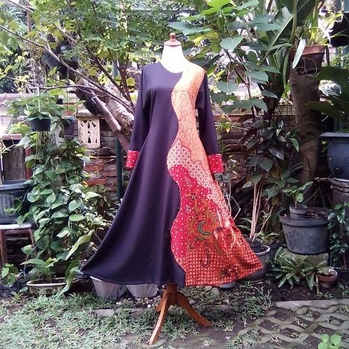 Baju Gamis Batik Kombinasi