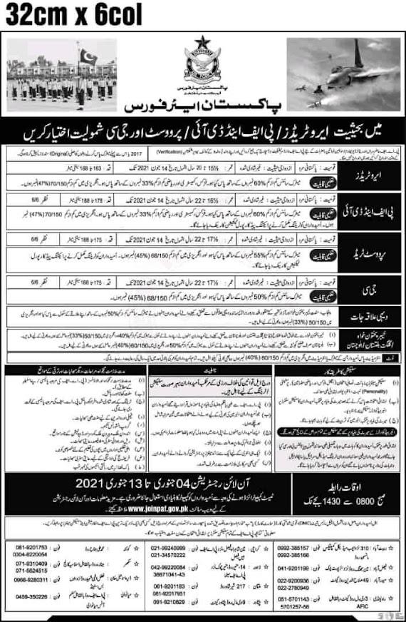 Latest Pakistan Air Force  PAF Job 2021